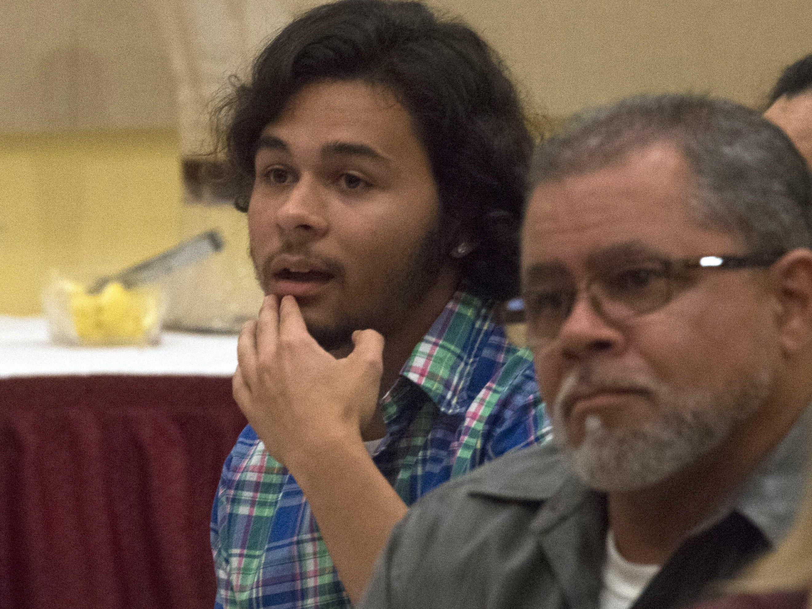 Pace High School's Adrian Acevedo sits in shock after finding out he was selected at the male Troy Rafferty Scholarship Award winner During the Pensacola News Journal's All-Sports Awards Banquet Wednesday night.