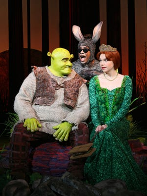 (L-R) Brian d'Arcy James as Shrek, Daniel Breaker as Donkey and Sutton Foster as Princess Fiona in a scene from the theatrical stage production Shrek the Musical on view at the Broadway Theatre from December 14, 2008. --- DATE TAKEN: rec'd 08/08  By Joan Marcus  NoCredit        HO      - handout   ORG XMIT: ZX70366