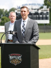Timber Rattlers team president Rob Zerjav announces a partnership between Marian University and The Wisconsin Timber Rattlers to bring a new Northwoods League baseball franchise to Fond du Lac for the 2017 season.