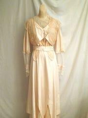 A 1917 wedding dress similar to the one worn at the Pierce-Webb wedding.