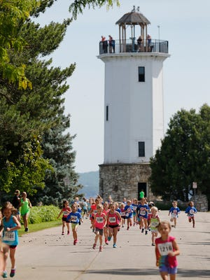 Kids run in Fond du Lac's 2017 Walleye Weekend 1 mile run and 1/3 mile runs Saturday June 10, 2017 in Lakeside Park. The festival took place on June 9, 10 and 11. Doug Raflik/USA TODAY NETWORK-Wisconsin