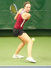 Fond du Lac's Kellie Hierl competes in a WIAA Division 1 state singles match in 2017.