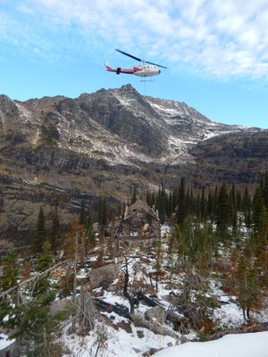 It took 15 helicopter trips to deliver the materials needed to stabilize Sperry Chalet against winter in Glacier National Park last year. Construction on the chalet, which burned down in August 2017, is expected to be completed by October.