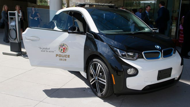Scary, huh? It's the BMW i3 electric car that Los Angeles Police will test