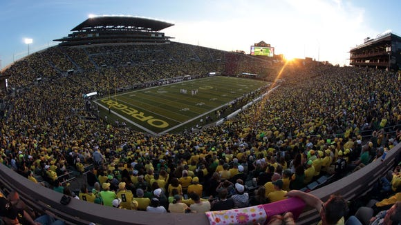 Sep 5, 2015; Eugene, OR, USA; A general view of the stadium as the Oregon Ducks play the Eastern Washington Eagles at Autzen Stadium. Mandatory Credit: Scott Olmos-USA TODAY Sports