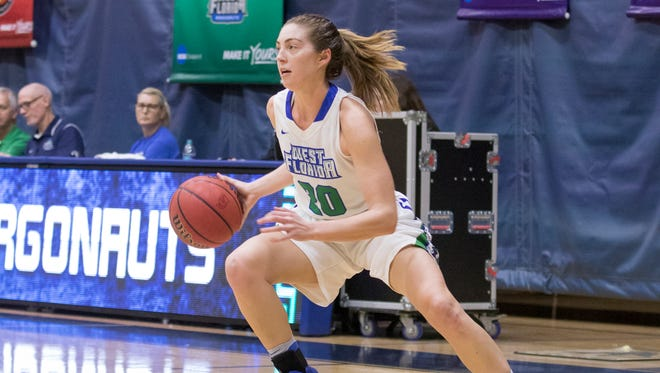 Belle Bistrow (20) drives to the basket during the Montevallo vs UWF women's basketball game at the University of West Florida in Pensacola on Monday, December 18, 2017.
