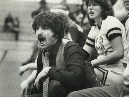 Jeff Jasper calls out instructions from the sideline during a Pascack Valley girls basketball game in 1980.