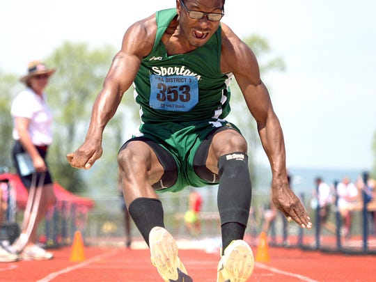 York County Tech's Ronald Henderson won the District 3 Class AAA triple jump title Friday in Shippensburg. (For the Daily Record/Sunday News -- Chris Knight)