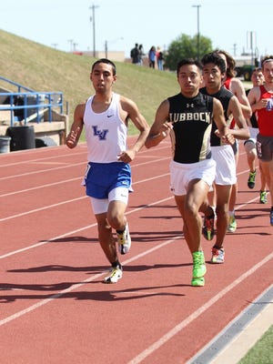 Lake View's Tomas Briones pulled away to win the 3,200-meter run at the District 4-5A Track and Field Championships at San Angelo Stadium on Thursday, April 5, 2018.