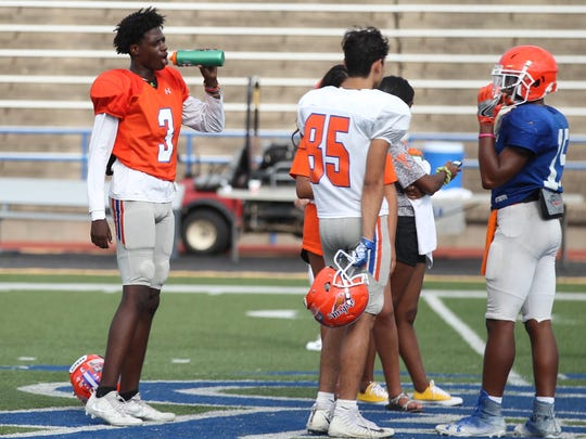 San Angelo Central High School senior cornerback Jashon Hall (3) takes a break during football practice at San Angelo Stadium on Monday, Sept. 17, 2018. Hall hopes to help Central get a homecoming win against El Paso Pebble Hills on Friday.