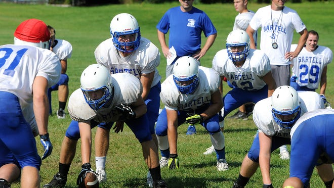 Players line up in an offensive formation during practice Wednesday, Aug. 20 in Sartell.