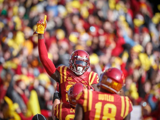 Iowa State receiver Matthew Eaton celebrates after scoring a touchdown against TCU on Saturday, Oct. 28, 2017, at Jack Trice Stadium in Ames.