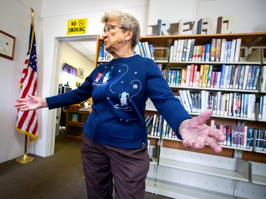 Fran Boehmer at the Alta Vista Public Library reacts