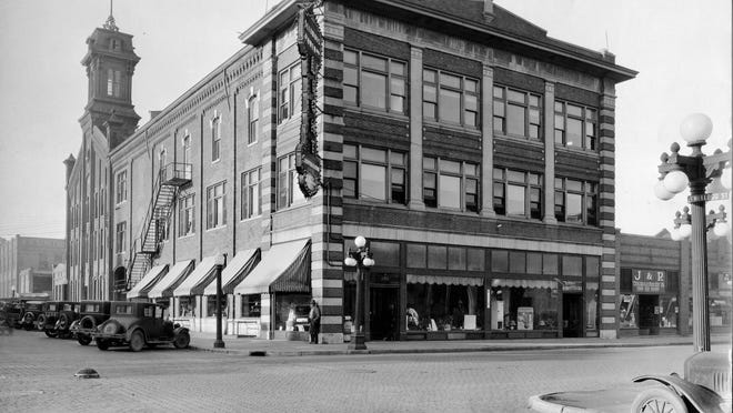 Pictured is the building that is now the home of Brighter Life Bookshoppe, 292 E. Simmons St. The building was originally built and used by George W. Brown Corn Planter Works. Later on, it was used by the Gale Automotive Co. and Illinois Power.