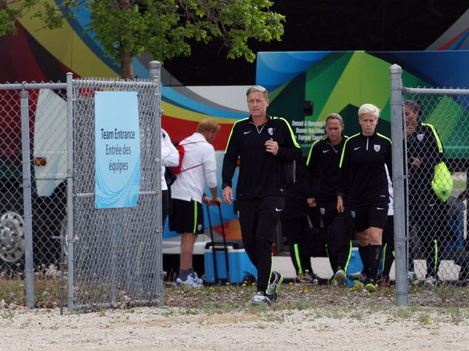 Abby Wambach arrives for training in preparation for