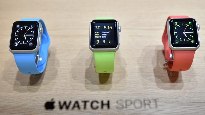 Apple Watches are displayed during a media event last week at the Yerba Buena Center for the Arts in San Francisco, Calif.