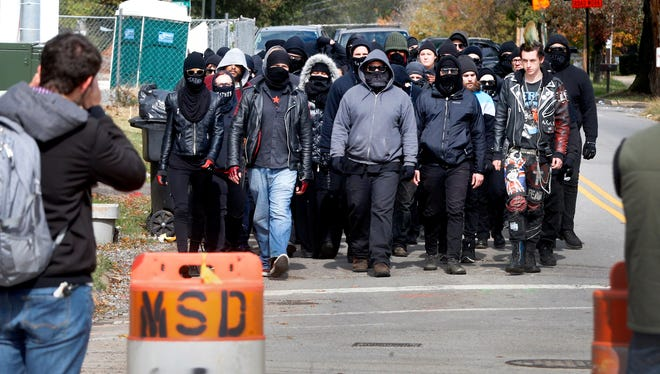 Antifa members march to the White Lives Matter rally down on Oct. 28 in Murfreesboro, Tenn.