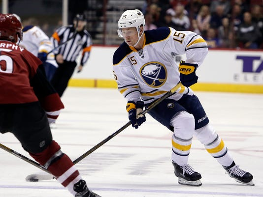 Buffalo Sabres center Jack Eichel (15) drives on Arizona Coyotes defenseman Connor Murphy in the first period during an NHL hockey game, Sunday, Feb. 26, 2017, in Glendale, Ariz. (AP Photo/Rick Scuteri)