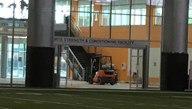 Renovations are underway inside the LaPorte Strength & Conditioning Facility at the Anderson Training Center.
