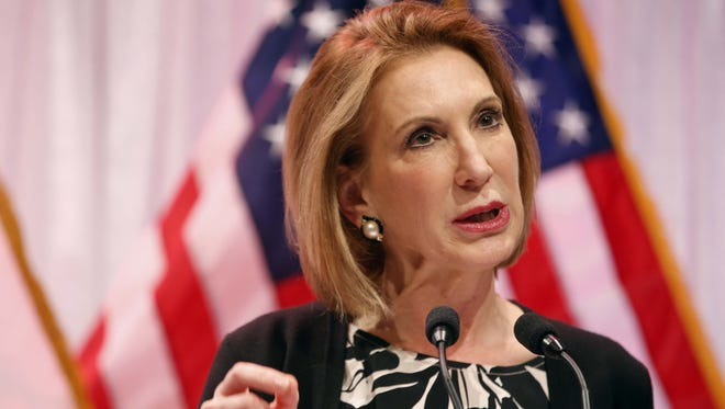 Republican Carly Fiorina speaks Saturday, April 25, 2015 at the Faith & Freedom Coalition Spring Kick Off at Point of Grace Church in Waukee.