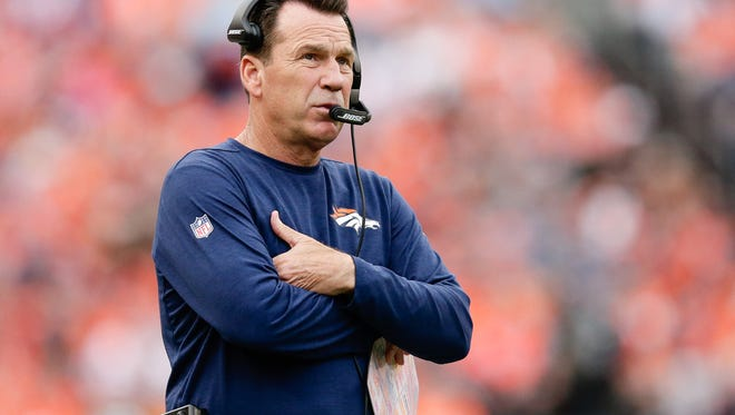 Oct 9, 2016; Denver, CO, USA; Denver Broncos head coach Gary Kubiak looks on in the fourth quarter against the Atlanta Falcons at Sports Authority Field at Mile High. The Falcons won 23-16.