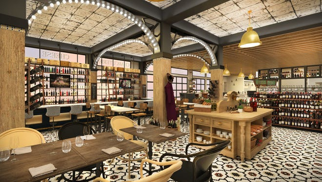 A rendering of the potential look of The Emporium Kitchen & Wine Market planned at the under-construction Elizabeth Hotel in Old Town Fort Collins.