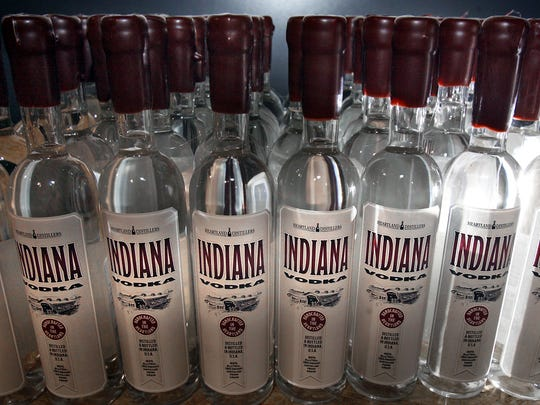 A batch of newly bottled Indiana Vodka ready for shipment at Heartland Distillers.