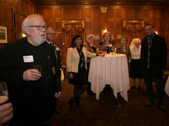 Grand Marshal for 2017, Michael Quinn, talks to the reception's attendees. Participants and sponsors of the St. PatrickÕs Day Parade are honored at a reception in the mahogany room in the Grand CafŽ,  Morristown, NJ. Wednesday, Feb. 15, 2017. Special to NJ Press Media/Karen Mancinelli/Daily RecordMOR 0217 St Patricks Grand CafŽ