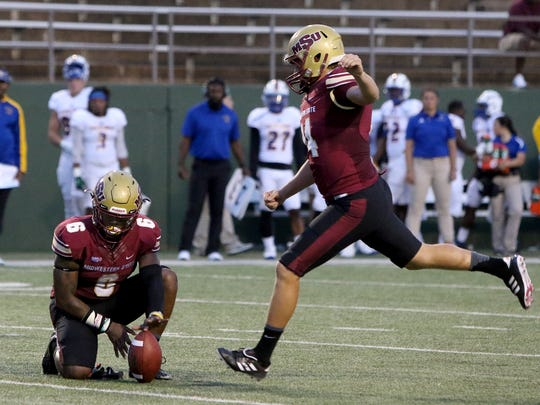 Midwestern State's Mitchell Henton kicks the extra point against Texas A&M-Kingsville Saturday, Sept. 16, 2017, at Memorial Stadium.