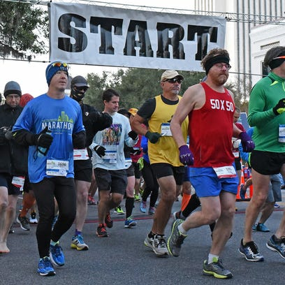 Cold start to the 42nd Annual Tallahassee Marathon.