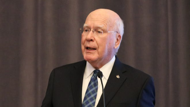 Sen. Patrick Leahy, D-Vt., speaks during a luncheon Friday in Boston where he was presented with a First Amendment award.