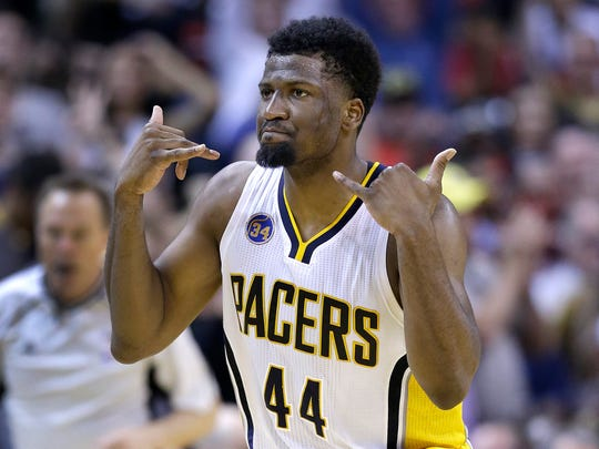 Indiana Pacers forward Solomon Hill (44) celebrates