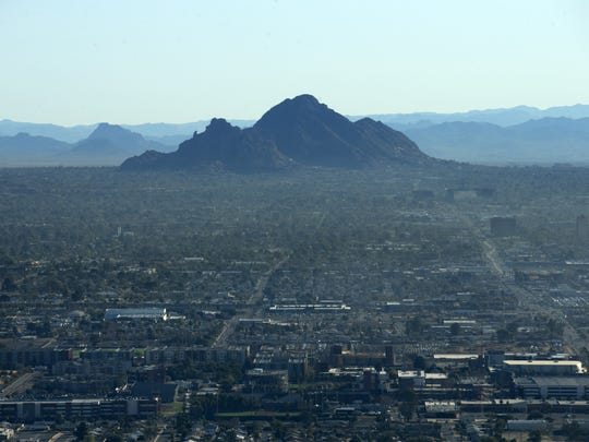 "Camelback Mountain in Phoenix as seen from the ""Snoopy"