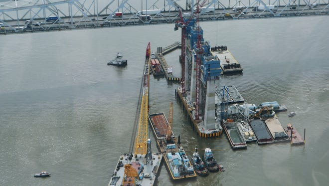 An aerial photo of the crane Chesapeake 1000, provided by the Westchester County Police, shot the day before the tugboat Specialist was raised to the surface of the Hudson River under the Tappan Zee bridge, March 24, 2016.