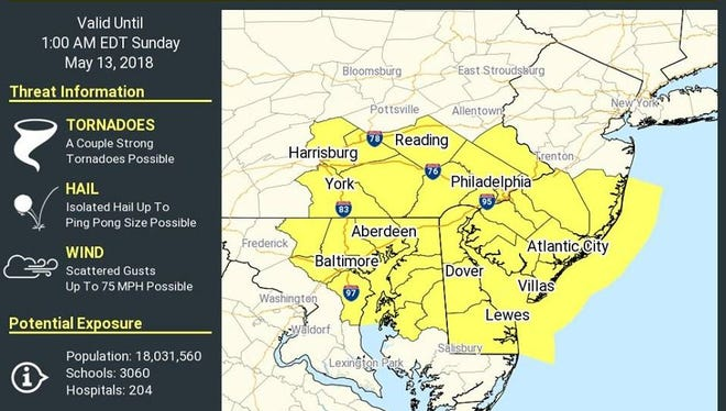 """The National Weather Service has issued a """"tornado watch"""" for Ocean County, effective until 1 a.m. Sunday."""