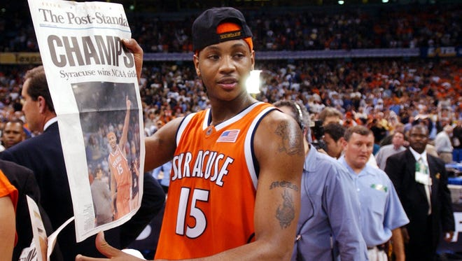 Carmelo Anthony during the celebration in the Superdome, where you could still get reasonably priced seats, on April 7, 2003.