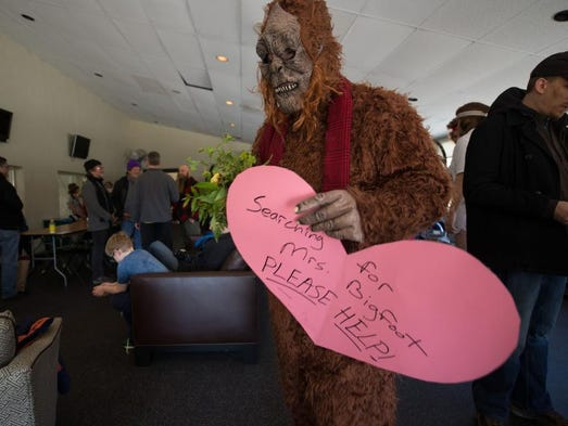 John Boyle, dressed as Bigfoot, arrives to the party