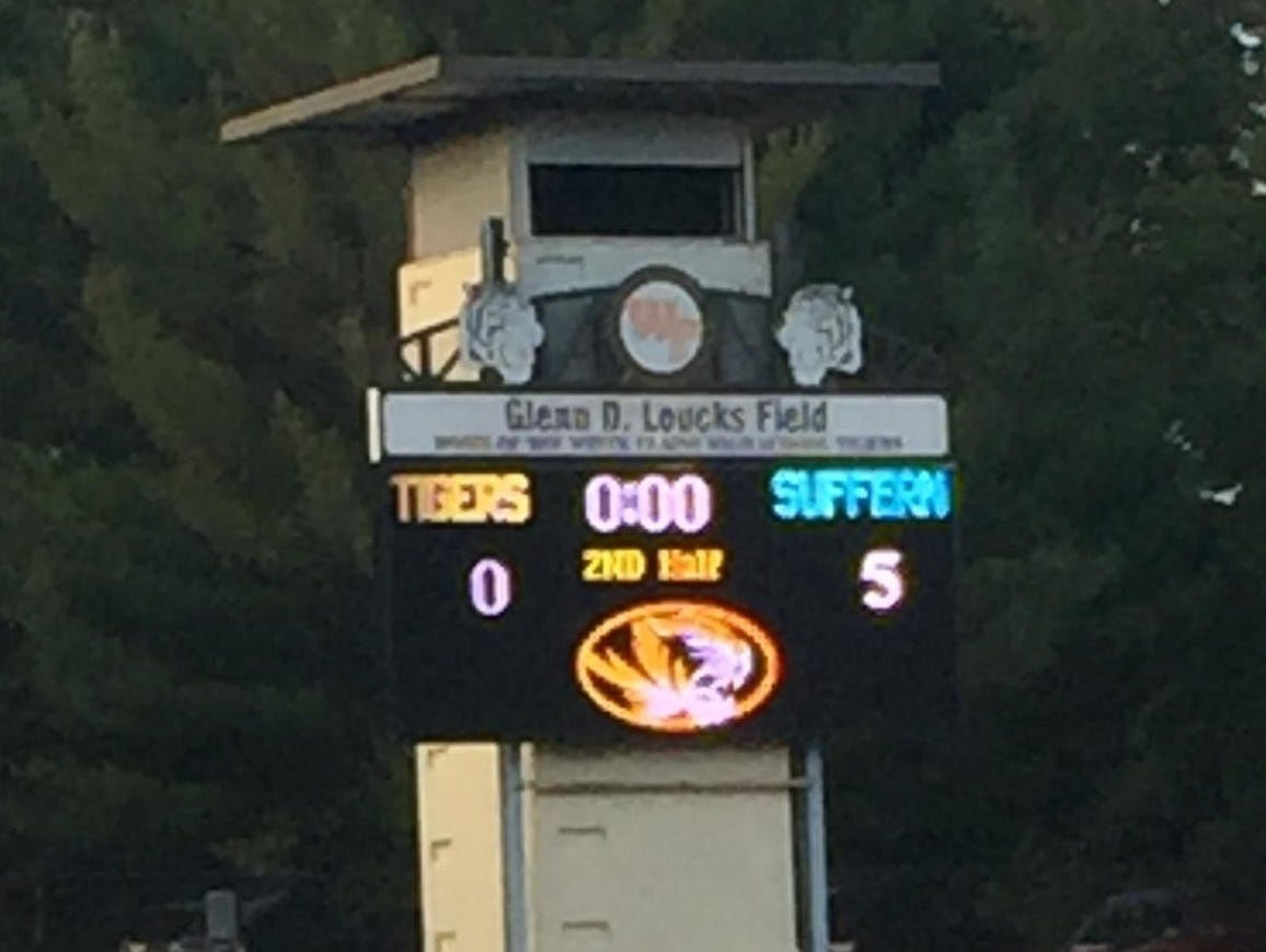 Scoreboard of the final results between Suffern and White Plains at White Plains High School on Monday, September 28th, 2015.