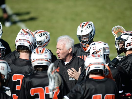 Palmyra head coach Dave Ondrusek rallies his squad ahead of the Cougars matchup with Lampeter-Strasburg.