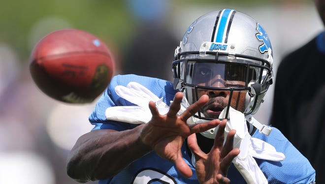 Lions receiver Anquan Boldin catches a pass during training camp Aug. 1, 2016 in Allen Park.