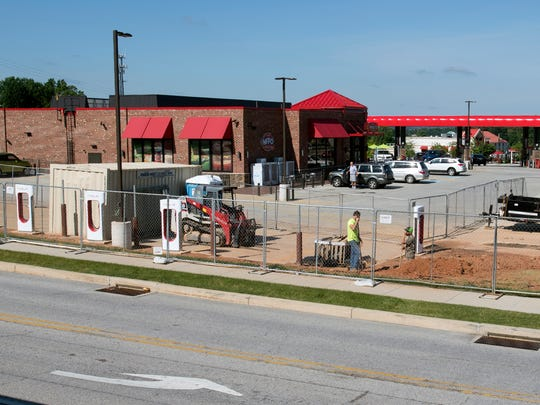 Tesla charging stations under construction at Sheetz
