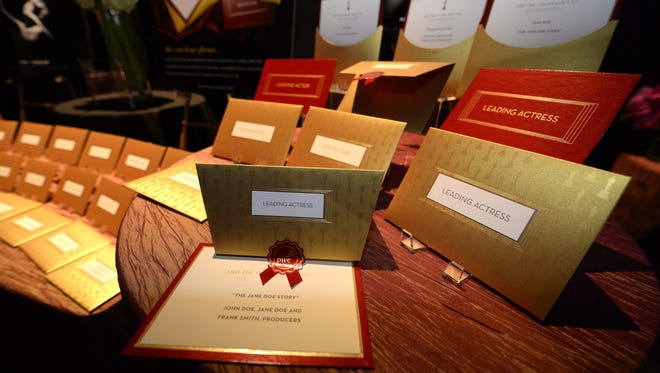 The Oscar winners envelopes by Marc Friedland Couture Communications displayed last week at media preview for Governor's Ball for upcoming 86th Academy Awards.