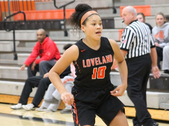 6-foot-1 sophomore Jillian Hayes prepares to press for Loveland against Anderson Dec. 9.