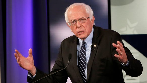 Bernie Sanders makes a point during a Democratic presidential