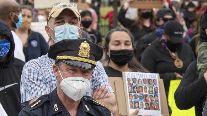 Worcester Police Chief Steven M. Sargent at the protest MOnday on the Worcester Common.