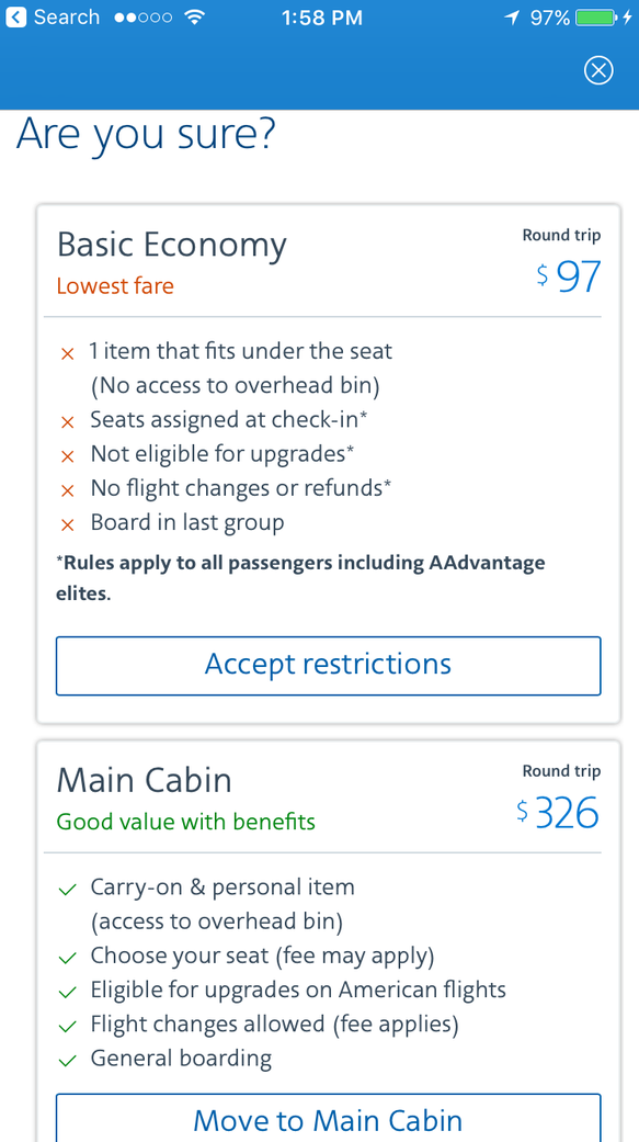American Airlines' mobile app details the differences