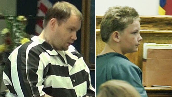 Don Collins is shown in a more recent court appearance at left. He was 13 in the 1998 photo on the right.