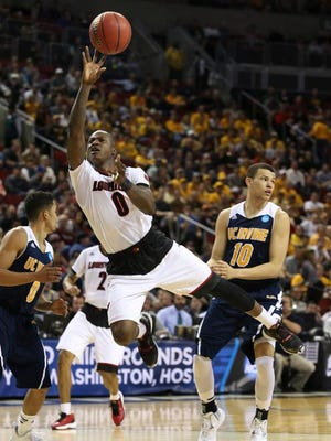 Terry Rozier tries an off-balance floater in the opening round of the 2015 NCAA tournament against UC-Irvine.