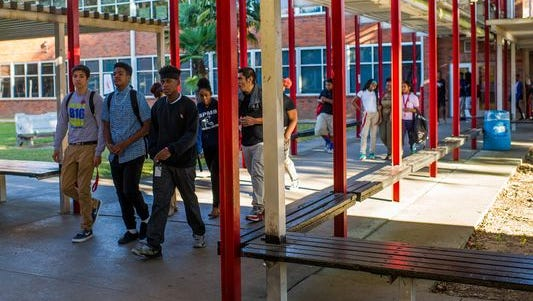 Students walk through the Northside High campus. The school has about 660 students.