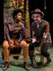 """Candice Handy (L) is Will Scarlet and Leah Strasser is Alanna Dale in Adam Szymkowicz's """"Marian, or the True Tale of Robin Hood,"""" the opening production of Know Theatre of Cincinnati's 20th season."""
